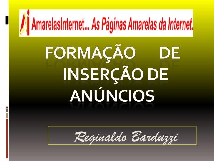 Formação       de   INSERÇÃO DE ANÚNCIOS<br />Reginaldo Barduzzi<br />