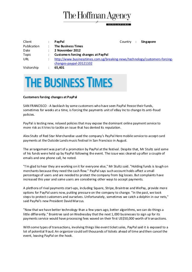 Client            :   PayPal                                   Country : SingaporePublication       :   The Business Times...