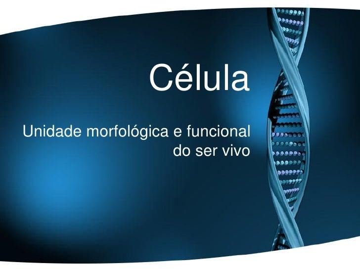 CélulaUnidade morfológica e funcional                    do ser vivo