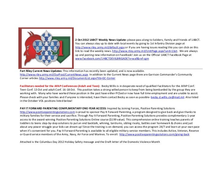 2 Oct 2012 1ABCT Weekly News Update: please pass along to Soldiers, Family and Friends of 1ABCT.                          ...