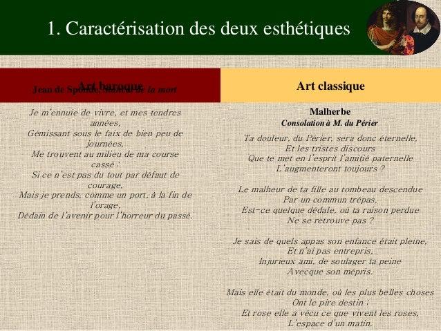 1. Caractérisation des deux esthétiques  Art baroque  Art classique  Jean de Sponde, Stances de la mort  Je m'ennuie de vi...