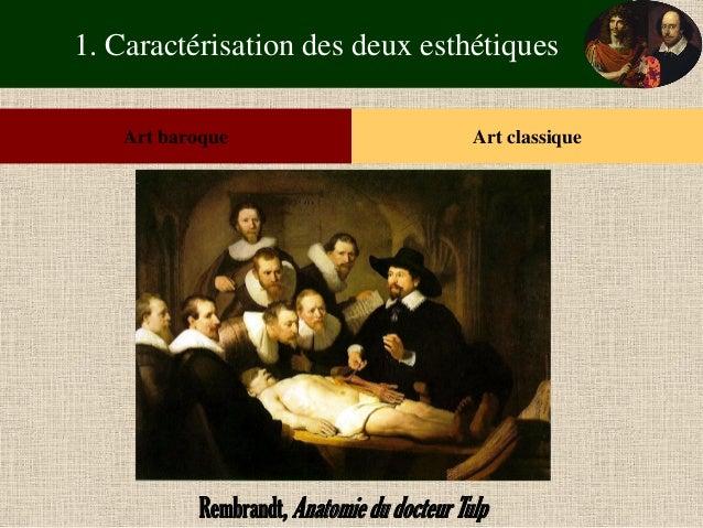 1. Caractérisation des deux esthétiques  Art baroque  Art classique  Rembrandt, Anatomie du docteur Tulp
