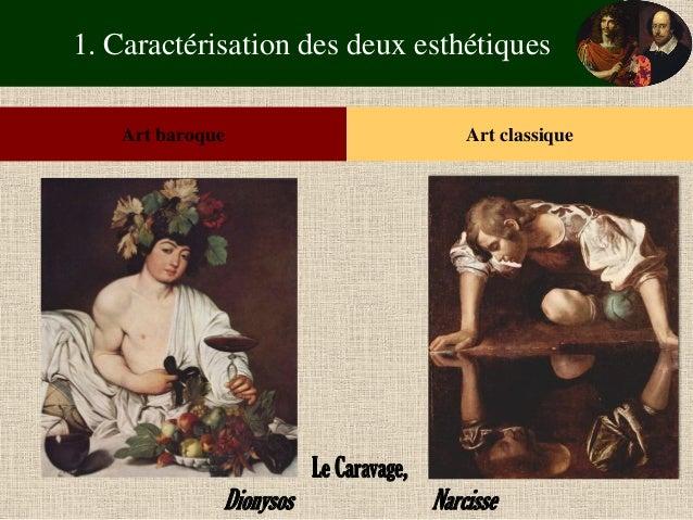 1. Caractérisation des deux esthétiques  Art baroque  Art classique  Le Caravage,  Dionysos Narcisse