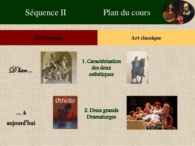 Séquence II Plan du cours  Art baroque  Art classique  D'hier…  … à aujourd'hui  1. Caractérisation des deux esthétiques  ...