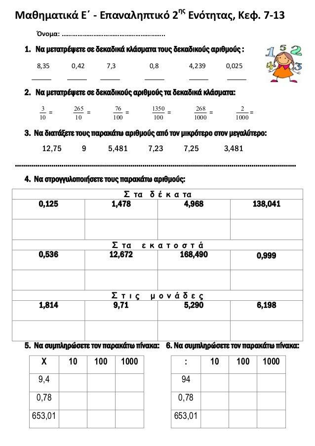 Μαθηματικά Ε΄ - Επαναληπτικό 2ης Ενότητας, Κεφ. 7-13 Όνομα: ………………………………………………….. 1. Να μετατρέψετε σε δεκαδικά κλάσματα τ...