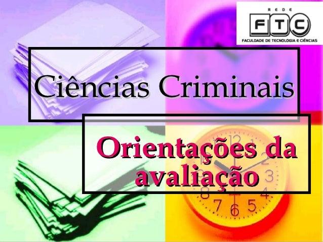 Ciências Criminais    Orientações da      avaliação