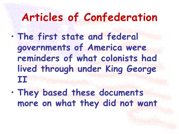 articles in confederation beginning america