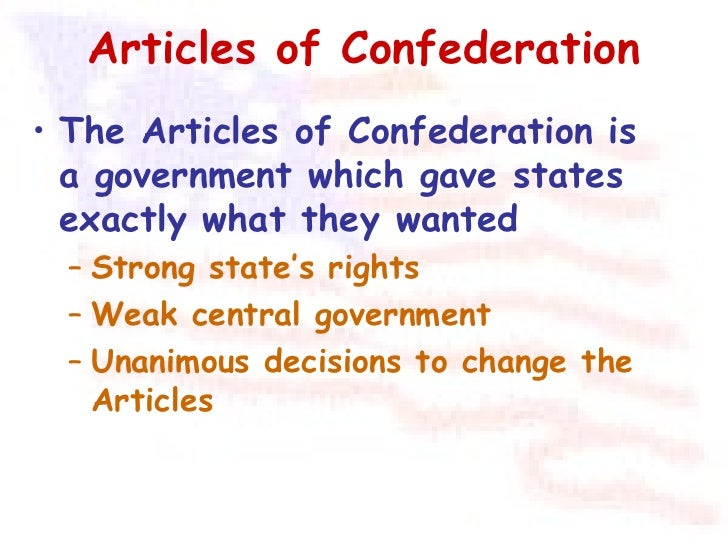 the reasoning behind the article of confederation of the united states Articles of confederation before the us constitution before the united states had a constitution without showing reasons.