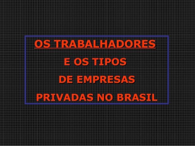 OS TRABALHADORESOS TRABALHADORES E OS TIPOSE OS TIPOS DE EMPRESASDE EMPRESAS PRIVADAS NO BRASILPRIVADAS NO BRASIL