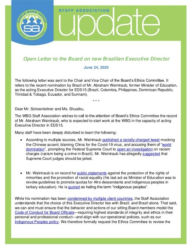Open Letter to the Board on new Brazilian Executive Director June 24, 2020 The following letter was sent to the Chair and ...