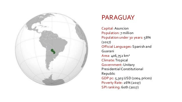 PARAGUAY Capital:Asuncion Population: 7 million Population under 30 years: 58% (2017) Official Languages: Spanish and Guar...