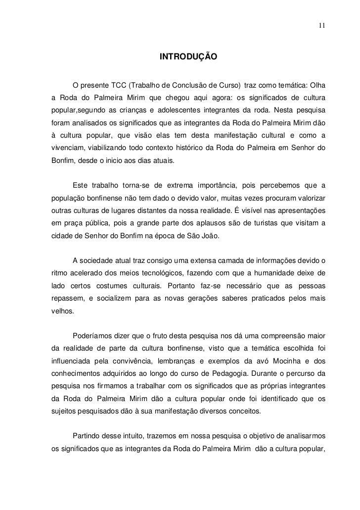 11                                  INTRODUÇÃO      O presente TCC (Trabalho de Conclusão de Curso) traz como temática: Ol...