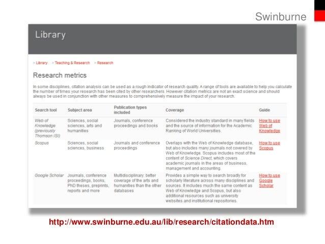 Swinburne http://www.swinburne.edu.au/lib/research/citationdata.htm