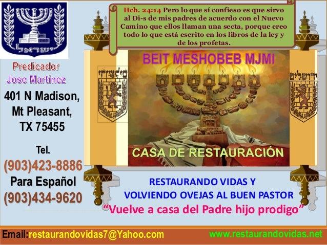"""www.restaurandovidas.net RESTAURANDO VIDAS Y VOLVIENDO OVEJAS AL BUEN PASTOR ------------------------""""Vuelve a casa del Pa..."""
