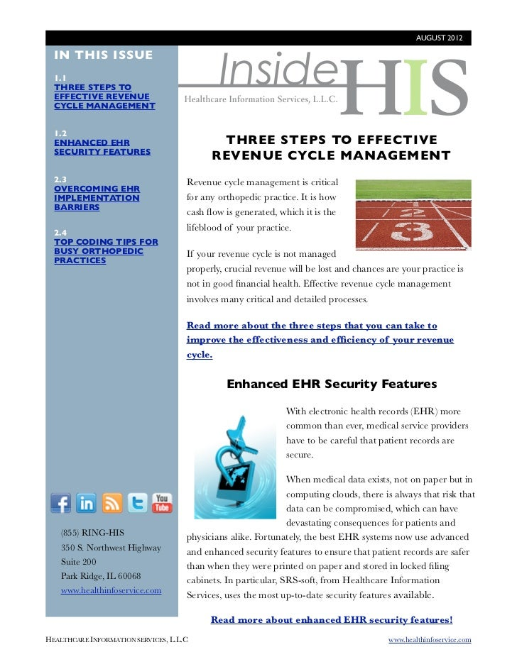 AUGUST 2012                                              Inside  IN THIS ISSUE  1.1  THREE STEPS TO  EFFECTIVE REVENUE  CY...
