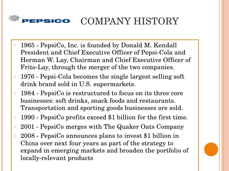 The background history of pepsi co