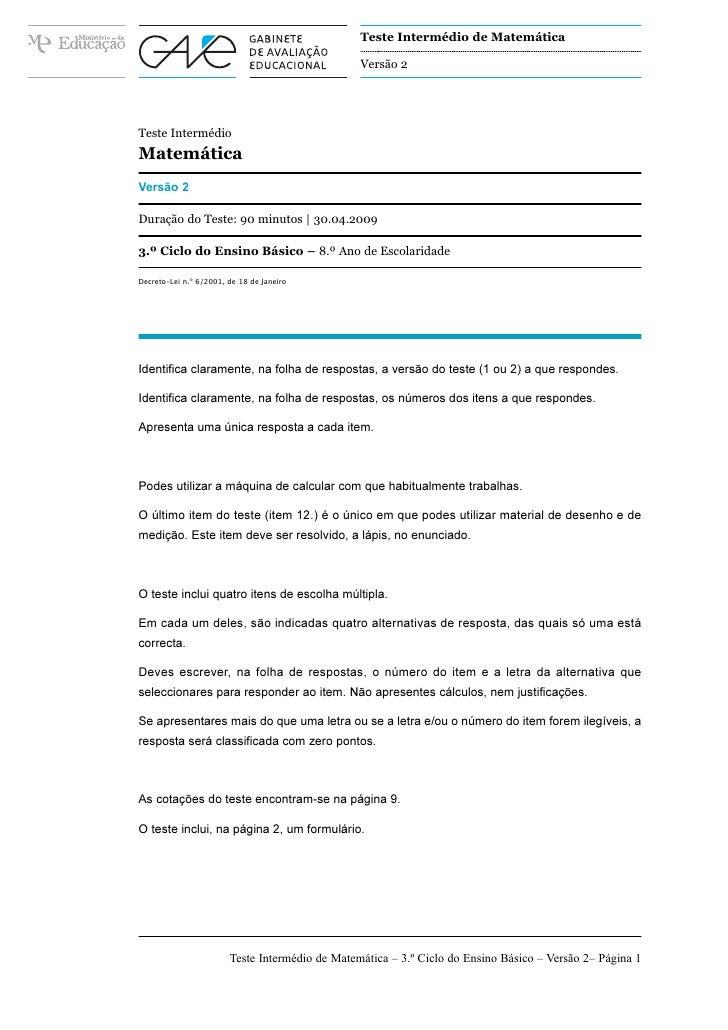 Teste Intermédio de Matemática                                                   Versão 2     Teste Intermédio Matemática ...