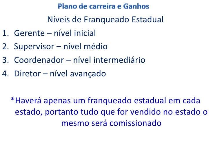 Níveis de Franqueado Estadual1.   Gerente – nível inicial2.   Supervisor – nível médio3.   Coordenador – nível intermediár...