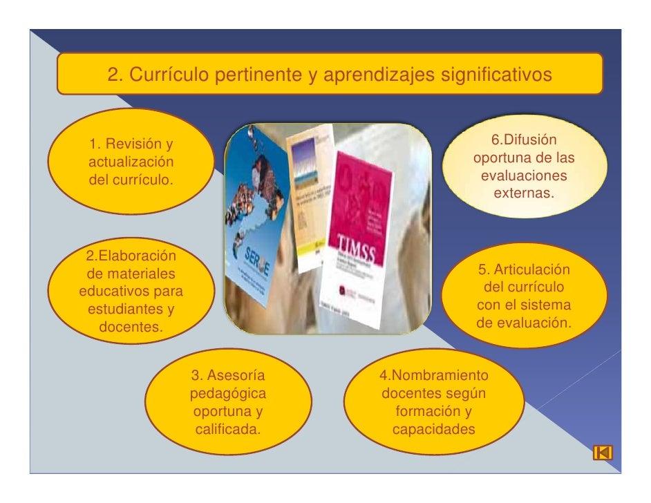 2. Currículo pertinente y aprendizajes significativos    1. Revisión y                                    6.Difusión  actu...