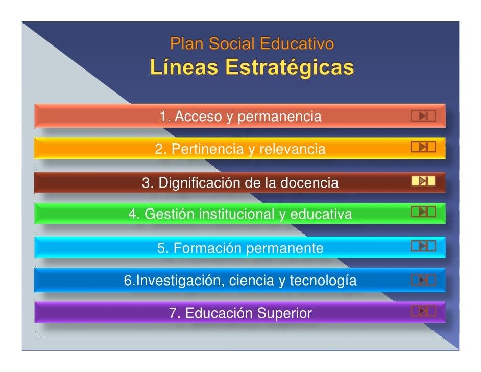 1. Acceso y permanencia      2. Pertinencia y relevancia    3. Dignificación de la docencia  4. Gestión institucional y ed...