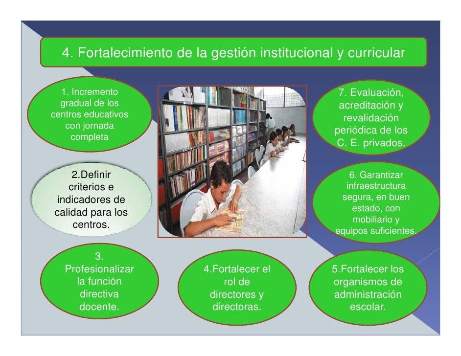 4. Fortalecimiento de la gestión institucional y curricular    1. Incremento                                  7. Evaluació...