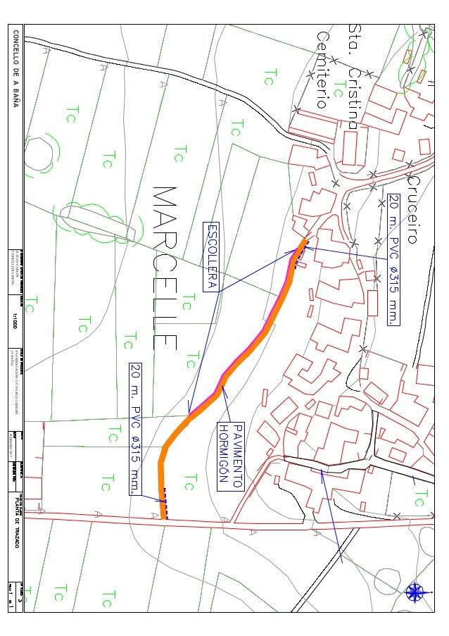 Plano do proxecto da rúa do Cabildo na parroquia de Marcelle (A Baña)