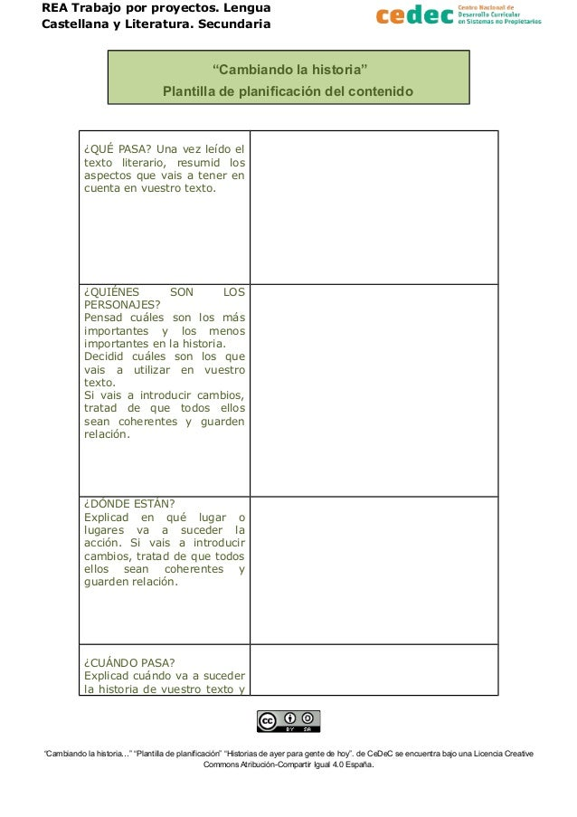 """REA Trabajo por proyectos. Lengua Castellana y Literatura. Secundaria """"Cambiando la historia"""" Plantilla de planificación d..."""