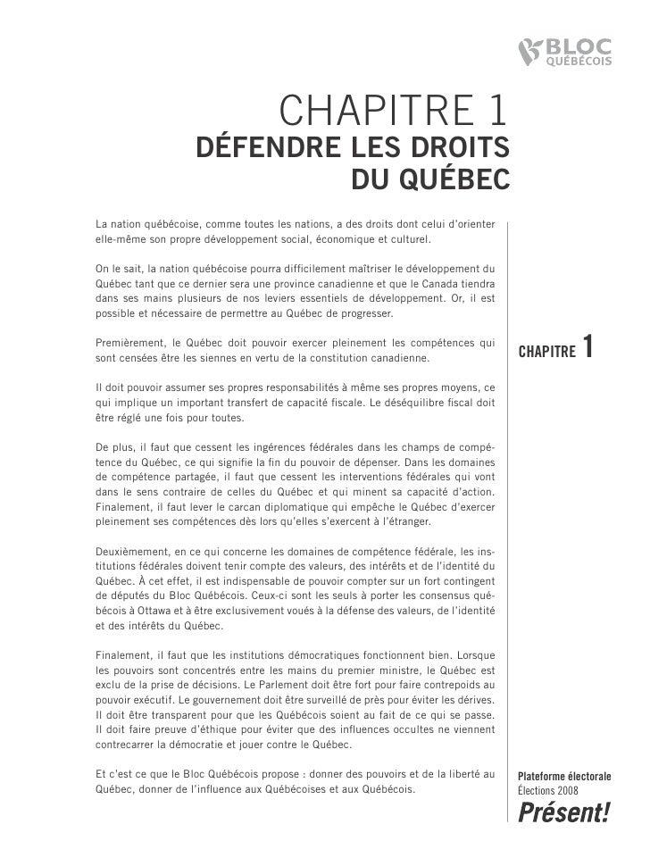 CHAPITRE 1                      DéfenDre les Droits                               Du Québec La nation québécoise, comme to...