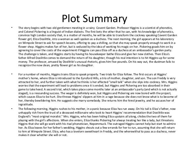 pygmalion short summary