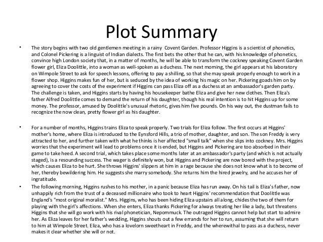 pygmalion drama summary
