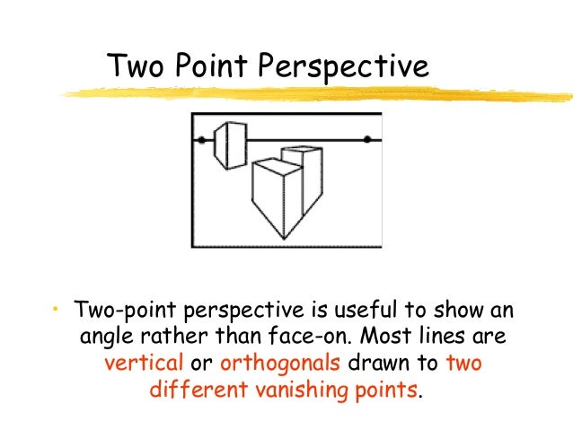Two Point Perspective• Two-point perspective is useful to show an  angle rather than face-on. Most lines are    vertical o...