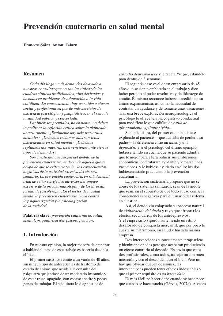 Prevención cuaternaria en salud mentalFrancesc Sáinz, Antoni TalarnResumen                                                ...