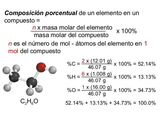 Composición porcentual de un elemento en un compuesto = n x masa molar del elemento masa molar del compuesto x 100% n es e...