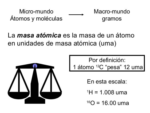 """Por definición: 1 átomo 12 C """"pesa"""" 12 uma En esta escala: 1 H = 1.008 uma 16 O = 16.00 uma La masa atómica es la masa de ..."""