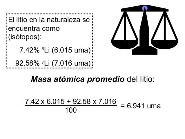 El litio en la naturaleza se encuentra como (isótopos): 7.42% 6 Li (6.015 uma) 92.58% 7 Li (7.016 uma) 7.42 x 6.015 + 92.5...