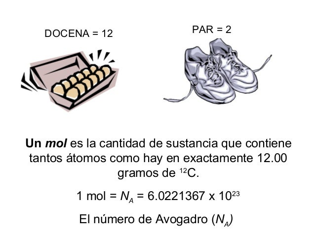 Un mol es la cantidad de sustancia que contiene tantos átomos como hay en exactamente 12.00 gramos de 12 C. 1 mol = NA = 6...
