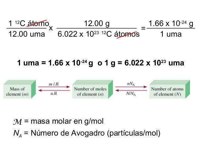 1 uma = 1.66 x 10-24 g o 1 g = 6.022 x 1023 uma 1 12 C átomo 12.00 uma x 12.00 g 6.022 x 1023 12 C átomos = 1.66 x 10-24 g...