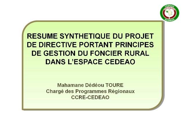 PLAN DE PRESENTATION 1.Contexte et Justification; 2.Caractéristiques du projet de directive; 3.Principaux éléments du proj...