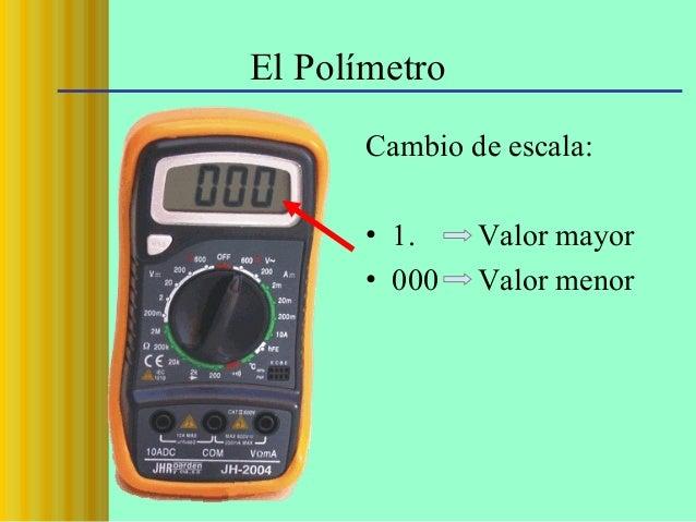 El Polímetro Cambio de escala: • 1. • 000  Valor mayor Valor menor