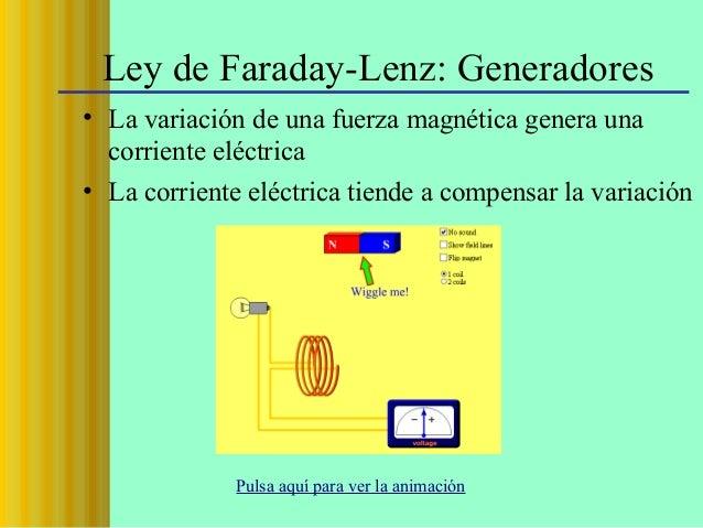 Ley de Faraday-Lenz: Generadores • La variación de una fuerza magnética genera una corriente eléctrica • La corriente eléc...