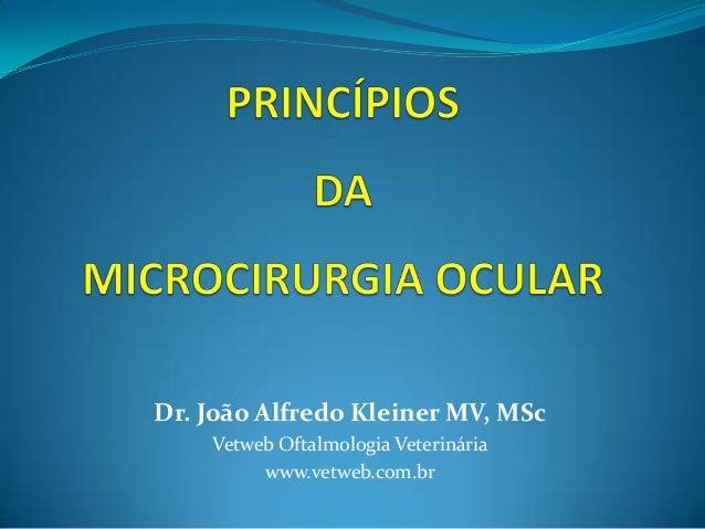 Dr. João Alfredo Kleiner MV, MSc    Vetweb Oftalmologia Veterinária         www.vetweb.com.br