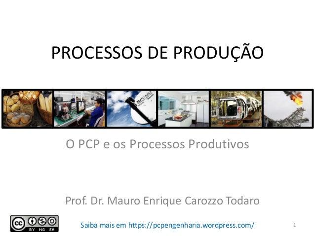 PROCESSOS DE PRODUÇÃO O PCP e os Processos Produtivos Prof. Dr. Mauro Enrique Carozzo Todaro 1Saiba mais em https://pcpeng...