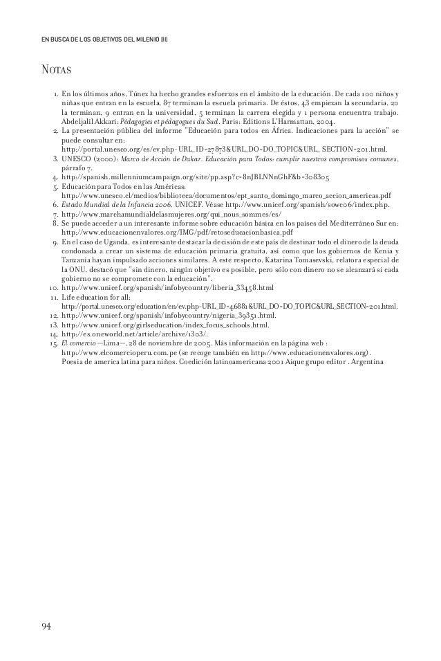 94 EN BUSCA DE LOS OBJETIVOS DEL MILENIO [II] Notas 1. En los últimos años, Túnez ha hecho grandes esfuerzos en el ámbito ...