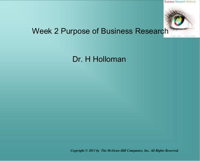 Copyright © 2011 by The McGraw-Hill Companies, Inc. All Rights Reserved.Week 2 Purpose of Business ResearchDr. H Holloman