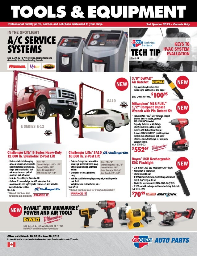 NEW RE S I S TAN T WATER P ROOF WATER TOOLS &EQUIPMENT Offers valid March 28, 2019 - June 26, 2019 For more information, c...