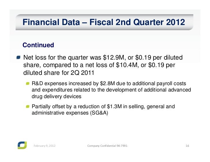 Financial Data – Fiscal 2nd Quarter 2012ContinuedNet loss for the quarter was $12.9M, or $0.19 per dilutedshare, compared ...