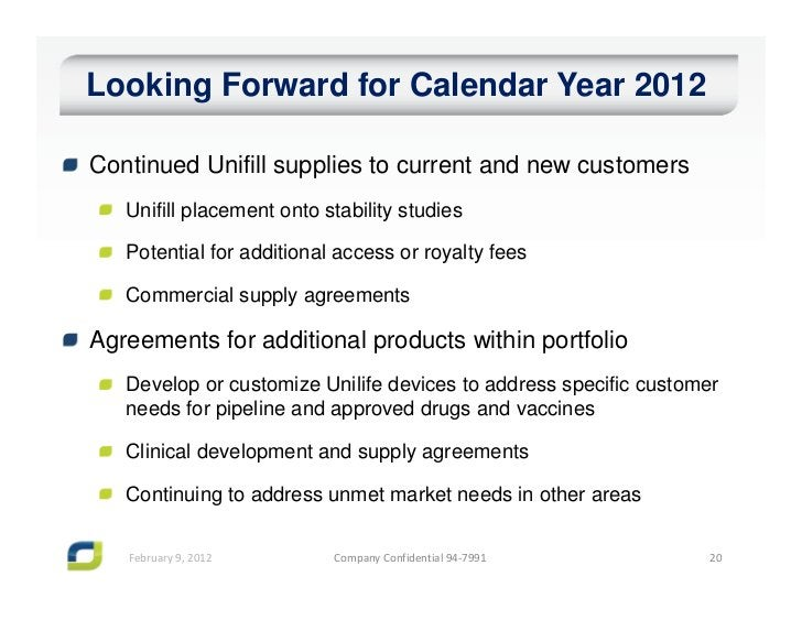 Looking Forward for Calendar Year 2012Continued Unifill supplies to current and new customers   Unifill placement onto sta...