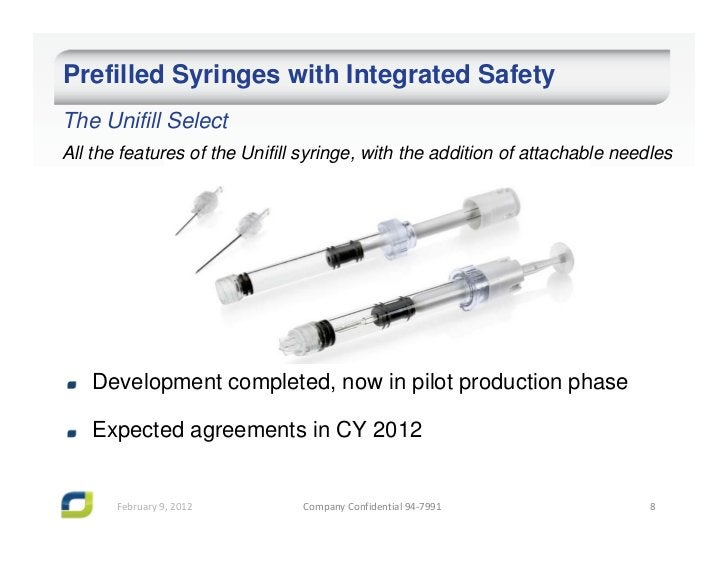 Prefilled Syringes with Integrated SafetyThe Unifill SelectAll the features of the Unifill syringe, with the addition of a...
