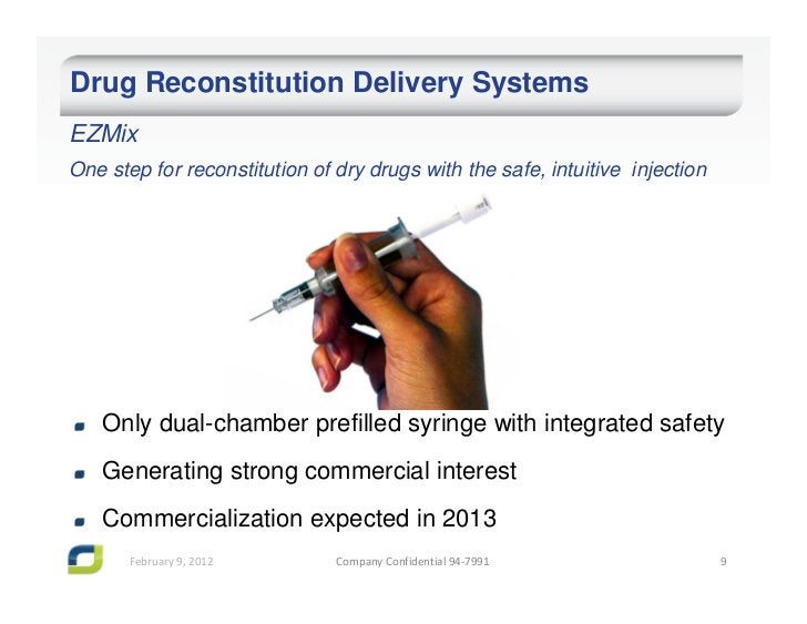 Drug Reconstitution Delivery SystemsEZMixOne step for reconstitution of dry drugs with the safe, intuitive injection   Onl...