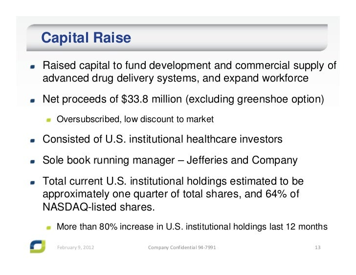 Capital RaiseRaised capital to fund development and commercial supply ofadvanced drug delivery systems, and expand workfor...